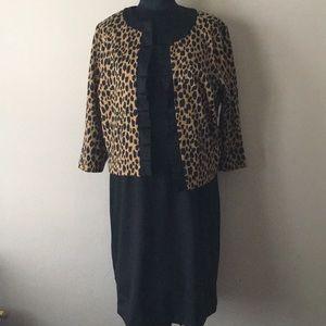 NWT Covington black dress and jacket set leopard